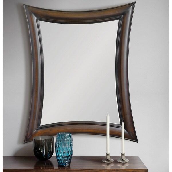 Copper Grove Collapsed Rectangular Brown Wood Framed Mirror