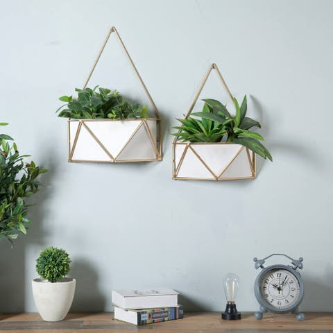 Set of 2 Succulent Metal Wall Planters