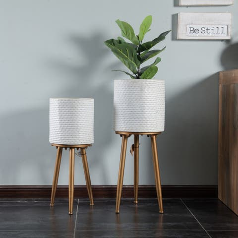 2pc Metal White Planters with Metal Legs