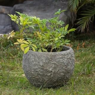 16.5in. Dia. MgO Fiberclay Rock Textured Planter