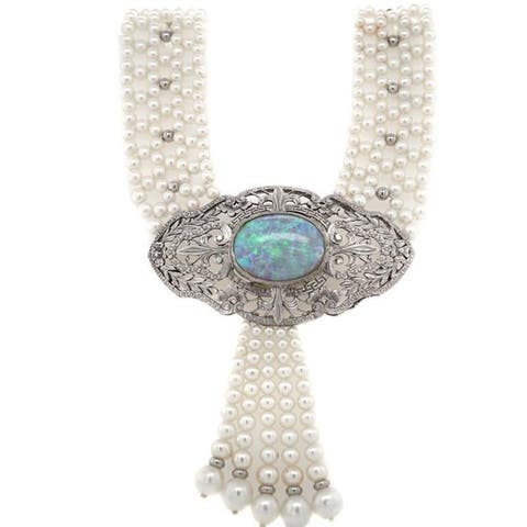 Platinum Pearl and Giant Opal Vintage Tassels Necklace