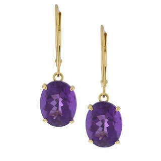 Kabella 14k Yellow Gold Oval Amethyst Leverback Earrings