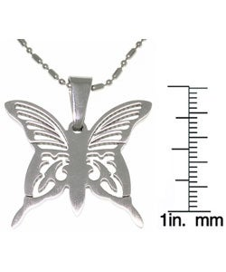 Carolina Glamour Collection Stainless Steel Laser Etched Butterfly Necklace - Thumbnail 2
