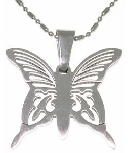 Carolina Glamour Collection Stainless Steel Laser Etched Butterfly Necklace