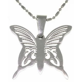 Stainless Steel Laser Etched Butterfly Necklace https://ak1.ostkcdn.com/images/products/2768107/P11030209.jpg?impolicy=medium