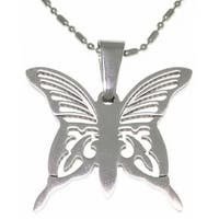 Stainless Steel Laser Etched Butterfly Necklace