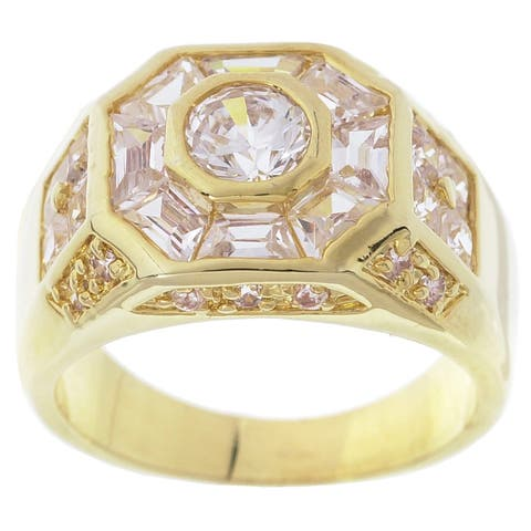 Simon Frank Gold Overlay 3.78 Equivalent Diamond Weight Men's Octagon CZ Ring