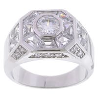 Simon Frank Designs 3.78 Mens Equal Diamond Weight Gold or Silver Overlay Octagon CZ Ring
