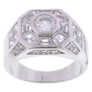 Simon Frank Designs 3.78 Mens Equal Diamond Weight Gold or Silver Overlay Octagon CZ Ring (2 options available)