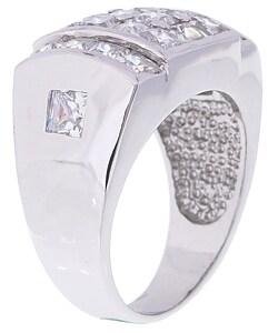 Simon Frank 14k White Gold Overlay Men's Surface Fire CZ Ring