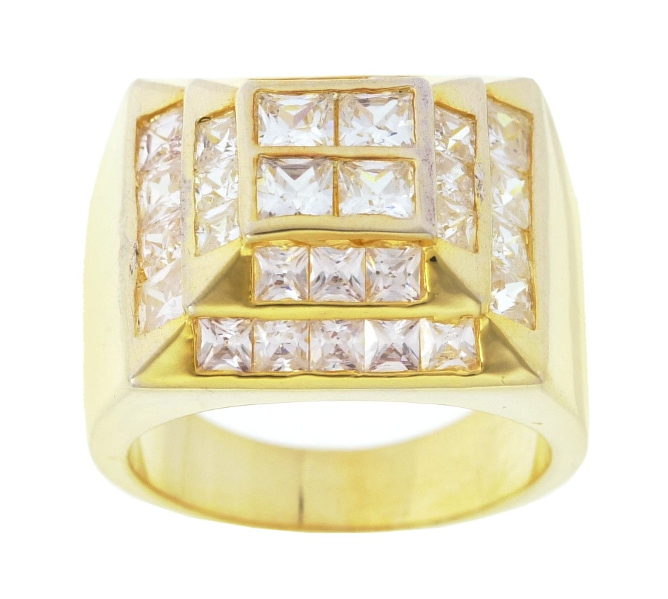 Simon Frank 14k Yellow Gold Overlay Men's High-tower CZ Ring