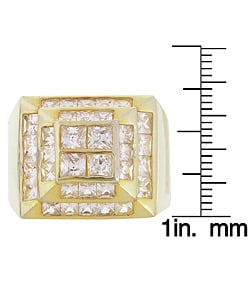 Simon Frank 14k Yellow Gold Overlay Men's High-tower CZ Ring - Thumbnail 2