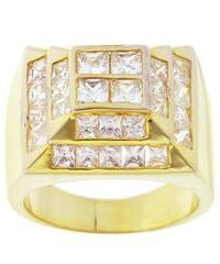 Simon Frank Yellow Gold Overlay Men's High-tower CZ Ring