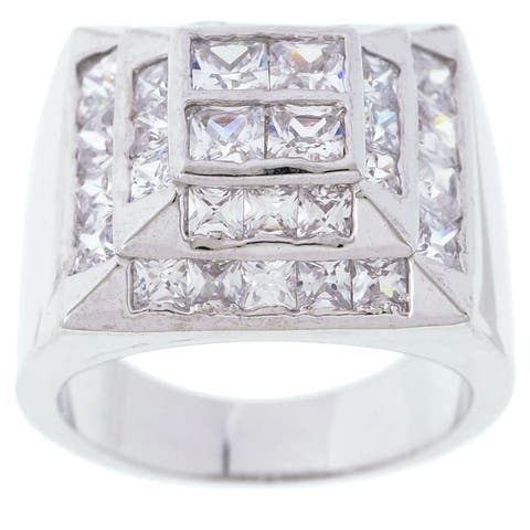 Simon Frank 14k White Gold Overlay Men's High-tower CZ Ring