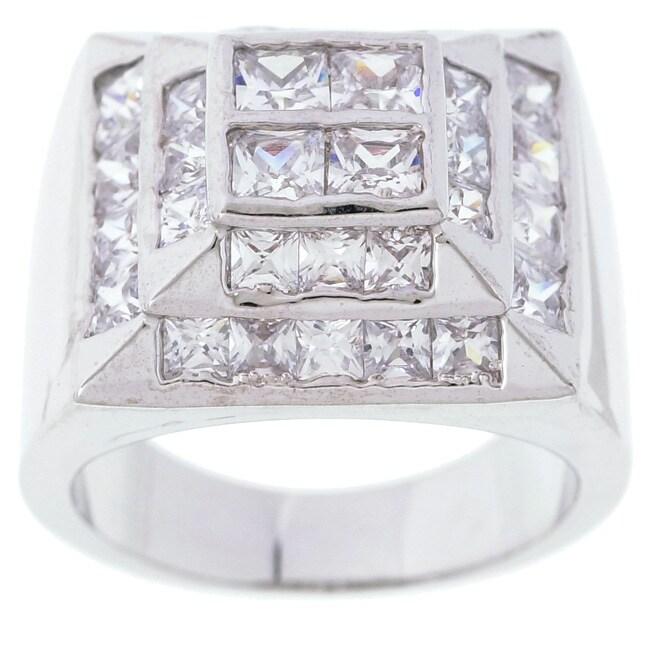 Simon Frank 14k White Gold Overlay Men's High-tower CZ Ring