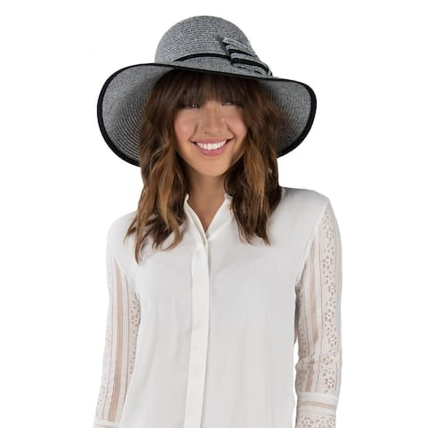 31e76502 Women Summer Floppy Textured Groove Ribbon Straw Sun Hat Wide Brim