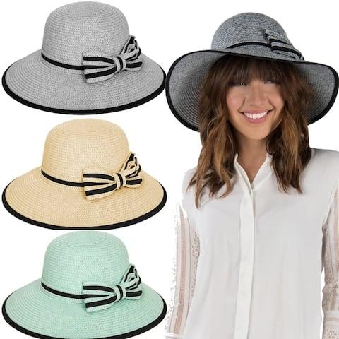 Women Summer Floppy Textured Groove Ribbon Straw Sun Hat Wide Brim
