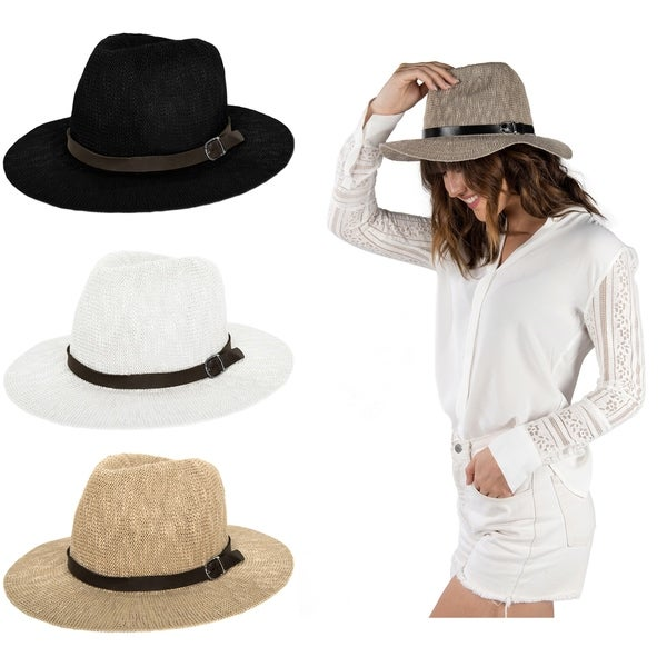 Women Floppy Sun Beach Straw Fedora Hat with Ribbon Band. Opens flyout.