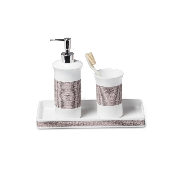 shop castaway gray 3-piece bath accessory set - free