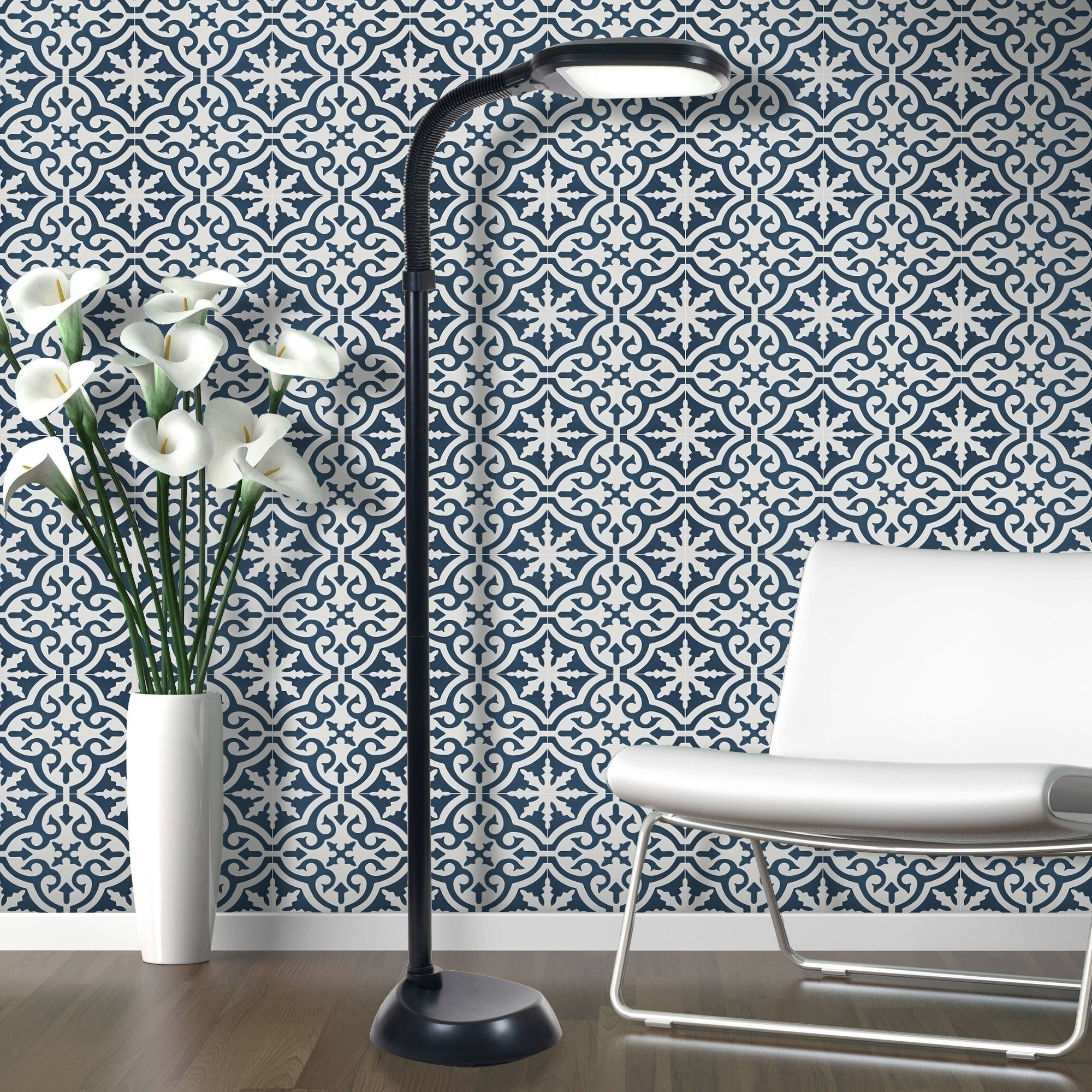 Navy Blue And White Cement Tile