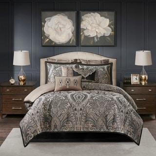 Link to Madison Park Signature Grandover Taupe Jacquard Comforter Set Similar Items in Comforter Sets