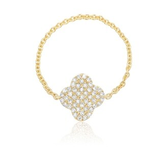 Link to 14KT Gold and Diamond Clover Chain Fashion Ring Similar Items in Rings