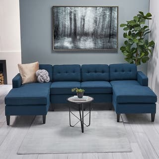 Crowningshield Contemporary Fabric Chaise Sectional with Button Accents by Christopher Knight Home