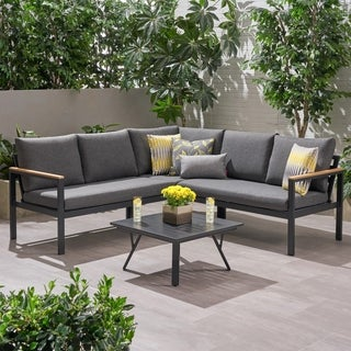 Link to Lampert Outdoor Aluminum V-Shaped Sofa Set with Faux Wood Accents by Christopher Knight Home Similar Items in Outdoor Sofas, Chairs & Sectionals