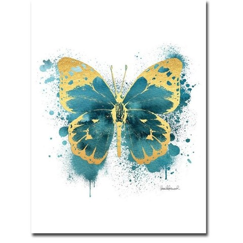 Amanda Greenwood 'Butterfly Gold and Indigo' Gallery-wrapped Canvas Giclee Art - 2'8 x 2'