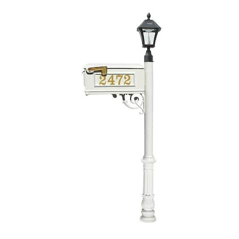 QualArc Mailbox, Post in White Color with Vinyl Numbers On Mailbox, Support Brace, Ornate Base and Black Bayview Solar Lamp