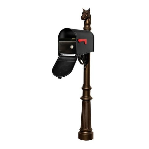 QualArc Lewiston Equine Post System with E1 Economy Mailbox and E1 Locking Insert, Fluted Base and Horsehead Finial - Bronze