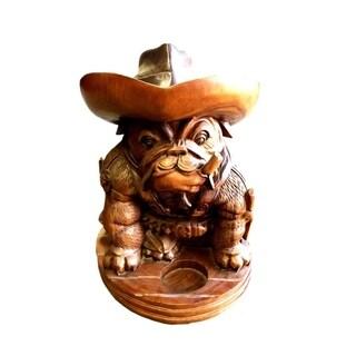 Hand Crafted Teak and Mahogany Old English Bulldog Cowboy Statue