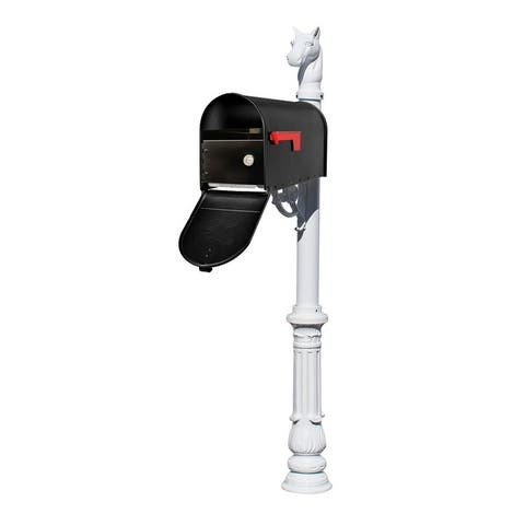 QualArc Lewiston Equine Post System with E1 Economy Mailbox and E1 Locking Insert, Ornate Base and Horsehead Finial - White
