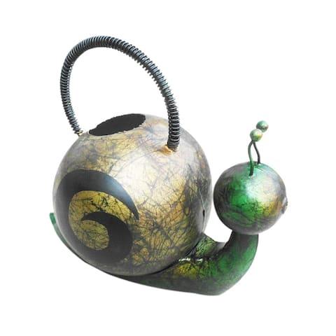 Home Garden Handmade Iron Snail Decorative Watering Can Figurine - Multicolor