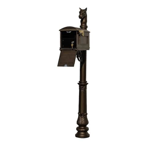 QualArc Lewiston Equine Mailbox Post System with Locking Insert, Ornate Base, Horsehead Finial - Bronze