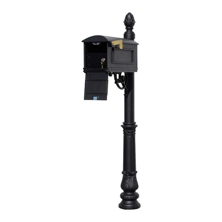 Qualarc Lewiston Equine Mailbox Post System With Locking Insert Ornate Base Pineapple Finial Black Overstock 27700469