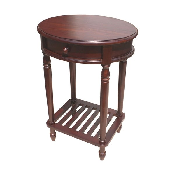 Solid Kiln Dried Mahogany Wood Bellingham Oval Lamp Table, 1 Drawer