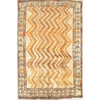 "Gabbeh Tribal Geometric Hand-Knotted Wool Persian Oriental Area Rug - 6'0"" x 3'11"""
