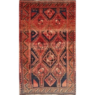 """Antique Lori Geometric Hand-Knotted Wool Persian Oriental Area Rug - 8'10"""" x 5'4"""""""