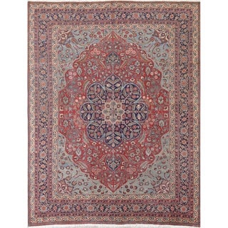 """Tabriz Floral Hand-Knotted Wool Persian Oriental Area Rug - 9'10"""" x 7'8"""""""