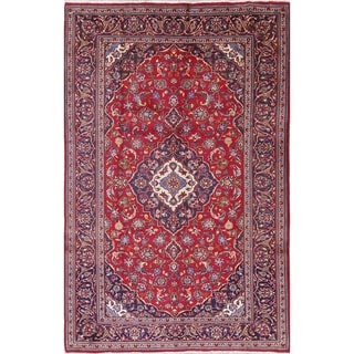 """Kashan Floral Medallion Hand-Knotted Wool Persian Oriental Area Rug - 9'9"""" x 6'3"""""""