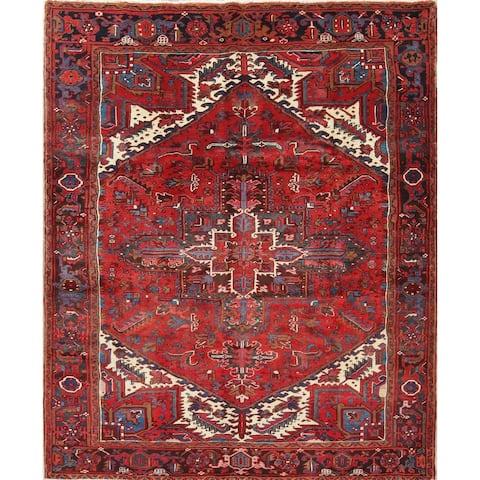 "One of a Kind Heriz Geometric Handmade Wool Persian Oriental Area Rug - 8'8"" x 6'8"""