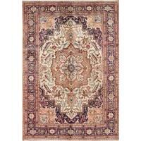 "Vintage Heriz Serapi Geometric Hand-Knotted Wool Persian Area Rug - 9'4"" x 6'6"""