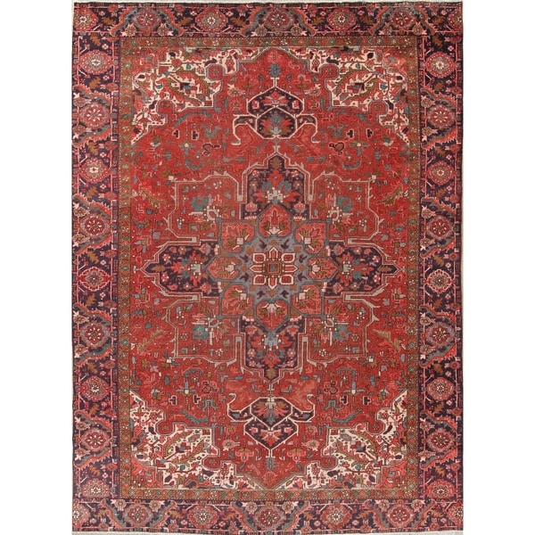 "Antique Heriz Geometric Handmade Wool Persian Oriental Area Rug - 12'8"" x 9'4"""