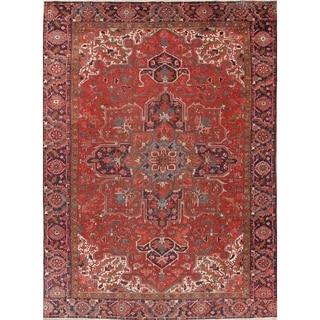 "Antique Heriz Geometric Handmade Wool Persian Oriental Area Rug - 12'8"" x 9'4"""