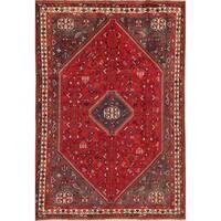 "Vintage Shiraz Tribal Geometric Hand-Knotted Wool Persian Area Rug - 9'7"" x 6'6"""