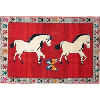 """Gabbeh Animal Pictorial Hand-Knotted Wool Persian Oriental Area Rug - 8'0"""" x 5'5"""""""