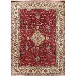 """Tabriz Floral Hand-Knotted Wool Pakistan Oriental Area Rug - 12'4"""" x 9'1"""""""