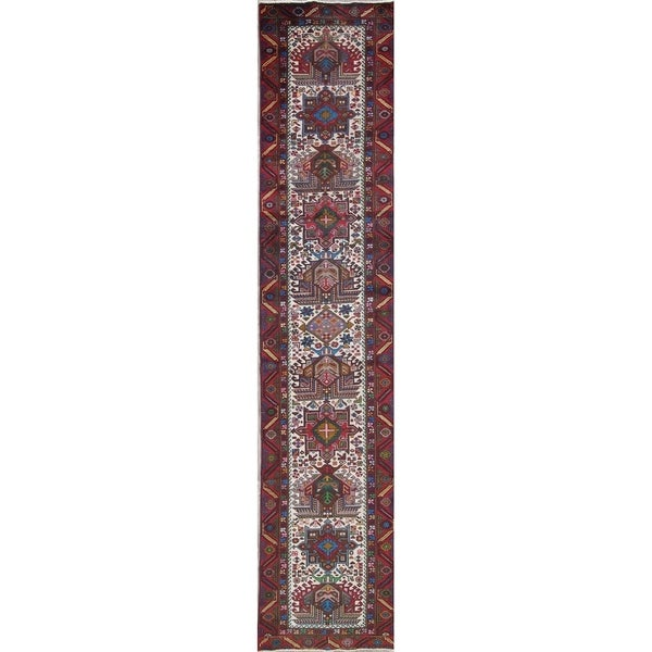"""One of a Kind Heriz Geometric Hand-Knotted Wool Persian Oriental Rug - 12'6"""" x 2'6"""" Runner"""