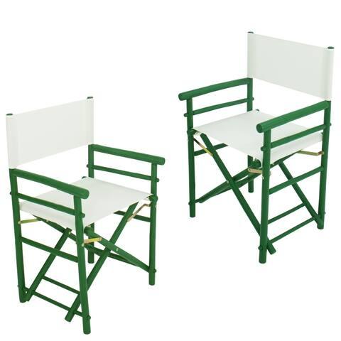 Handcrafted Bamboo Indoor Outdoor Folding Director Chair Set of 2